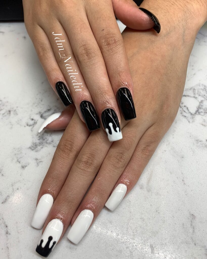back to school contrast nails