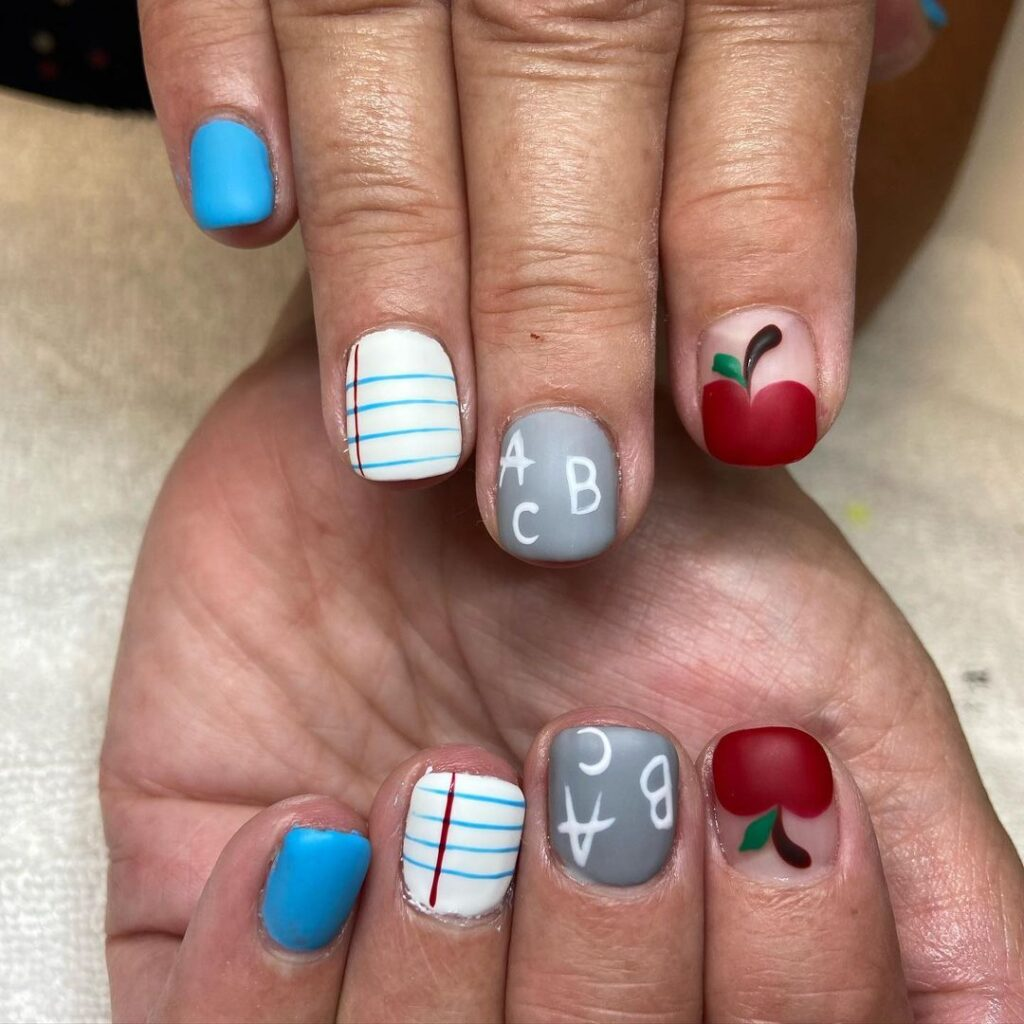 back to school elementary nails