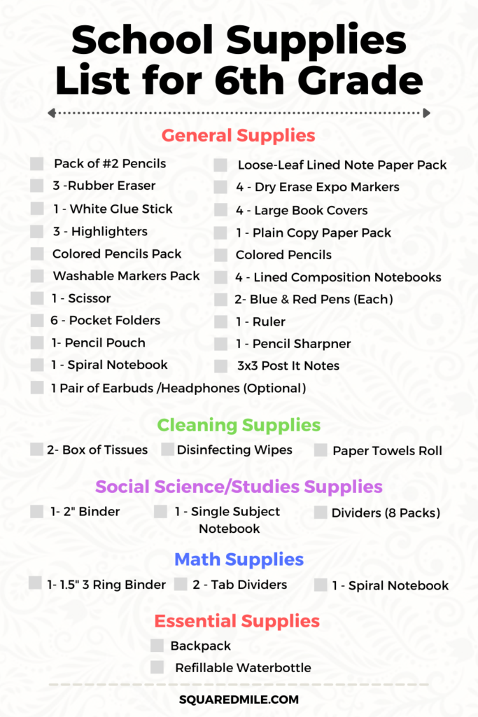 Back to School Supplies List for 6th Grade